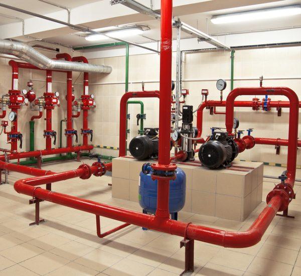 Fire sprinkler control system in basement of large buildings